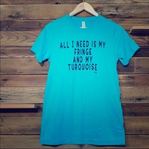 Western turquoise and fringe tee